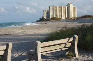 A view from the north captures the Ocean Trail beach front living perfectly.