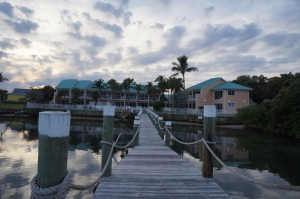 The Jupiter Waterfront Inn as seen from the dock